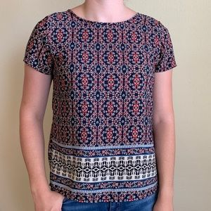 Mini coral floral on dark navy blouse.